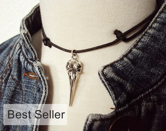Bird Skull Necklace ~ Bird Skull Choker ~ Unique Gift ~ Gothic Necklace ~ Gothic Choker ~ 90s Choker Necklace on Black Cord