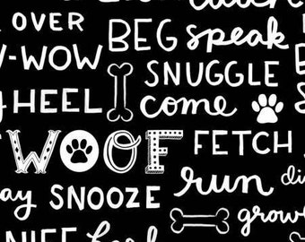 Dog Lover Words Black and White cotton fabric by Clothworks