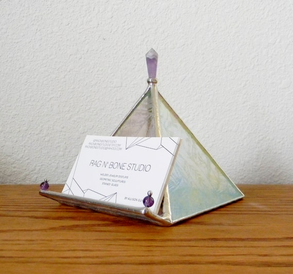 Iridescent stained glass pyramid business card holder with for Iridescent business cards