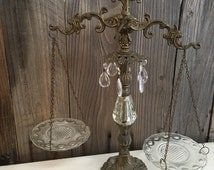 Vintage Scale Tabletop Brass Crystals Justice Glass Home Decor Shabby Farmhouse