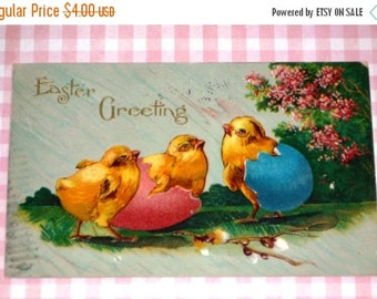 Antique Chick and Egg Easter Postcard