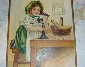 Sweet Little Irish Lass Speaking on The Telephone Antique Clapsaddle St. Patrick's Day Postcard