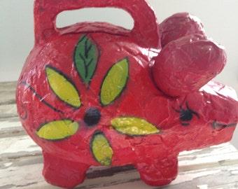 Paper Mache Red Piggy Bank