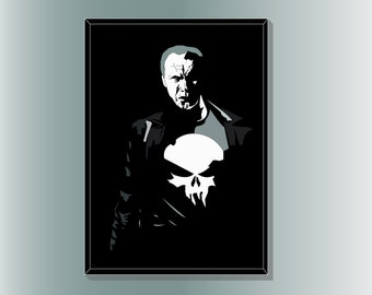 Old Man Punisher Minimalist Comic Book Poster Print by Cult.Graphics
