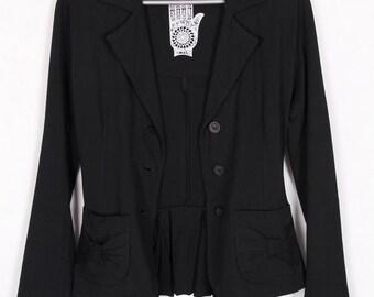 90s black knitted jacket blazer size S