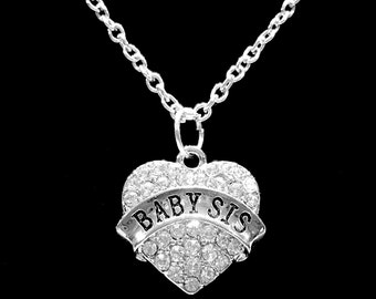 Sister Gift, Crystal Baby Sis Necklace, Heart Little Sister Gift Charm Necklace