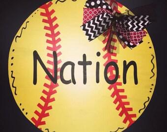 Softball door hanger, sports door hanger, personalized softball door hanger, softball, sports door hanger, sports decor