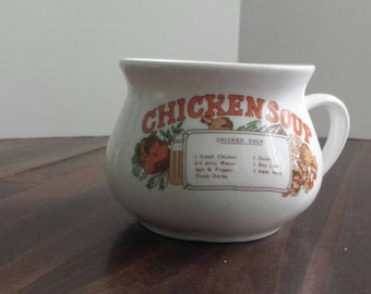 Retro Chicken Soup Mug with Recipe on Front