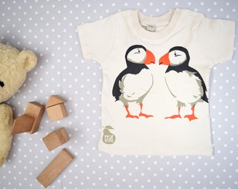 Baby t-shirt in organic cotton with puffins. Baby boy or baby girl gift.
