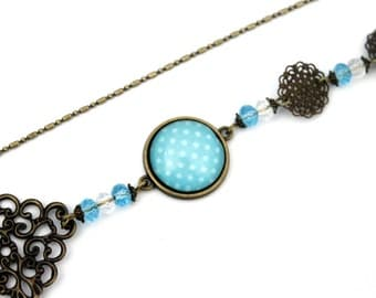 "Bohemian headband with cabochon ""Turquoise peas"" bronze brass vintage"