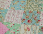 Vintage Style Patchwork Baby Girl Quilt, Quilt Blanket, Modern Blanket, Mint Aqua Pink, Shabby Chic Quilt, Butterfly Quilt