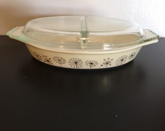 Vintage Pyrex Dandelion Divided Casserole dish with lid