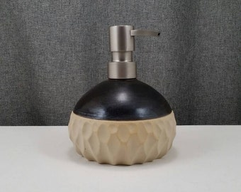 Made to order ** Ceramic Soap Dispenser Handmade Pottery Lotion Dispenser Pottery for Kitchen and Bath - Amber/ Hand Carved