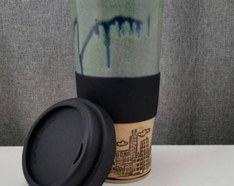 Made to Order* Clay Travel mug / Commuter mug with silicone lid - Coral Blue/ CityScape