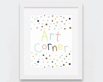 Nursery Wall Art, Childrens Printable Art, Art Corner Art Print, Craft Station Art, Gender Neutral, Printable Scandinavian Nursery Art