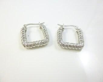 Square Hoop Earrings, Sterling Silver Hoops