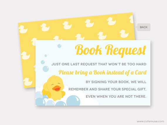 Rubber Duck Book Request Card, Baby Shower Printable, Rubber Ducky Bring A  Book Insert, Instead Of A Card, Instant Download
