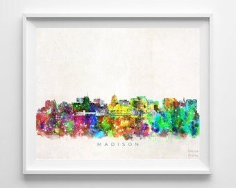 Madison Skyline, Print, Watercolor Painting, Wisconsin Art, Cityscape, Giclee Art, City Painting, Wall Art, Home Decor, Back To School