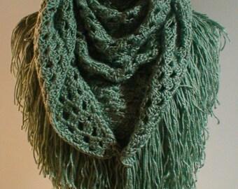 Triangle Shawl Triangle Scarf Moss Green Hand Crochet