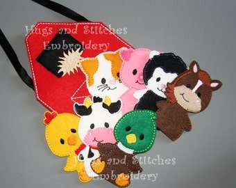 7 Piece Farm Animal Finger Puppets with Barnbag, Busy Bag