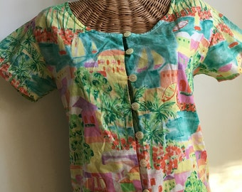 80's Esprit summer village top