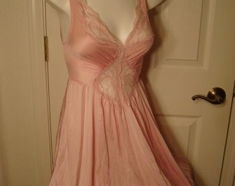 "Vintage Olga Gown- full sweep skirt- 50"" long-dusty pink-#92150-nylon spandexx"