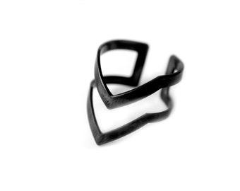 midi chevron ring, black geometric ring, open band ring, Pointy Ring