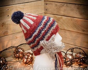 Loom Knit Earflap Hat PATTERN. Shooting Star Earflaps, Patriotic, Seaside, Moon/stars Theme Hat PATTERN. Instant PDF download. Adult/teen.