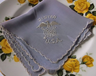 Vintage 1940s WWII Quartermaster General Sister Silk Hanky Handkerchief, Lovely light purple lavender 1940s WWII Original Hanky, US Military