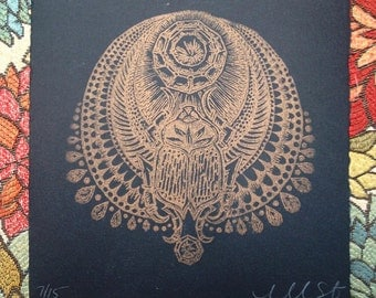 scarab relief print