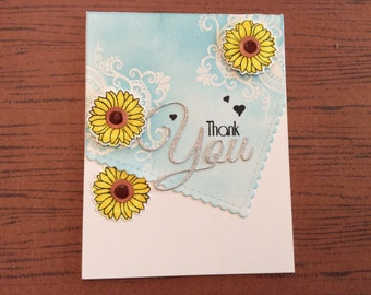 Handmade Greeting Card: Thank You card with scalloped edge embossed front