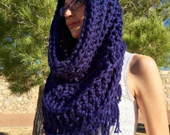 Hooded Cowl, Hooded Scarf, Circle Scarf with Fringe, Oversized Chunky Cowl, Crochet Cowl, Oversized Scarf, Chunky Shoulder Wrap with Fringe