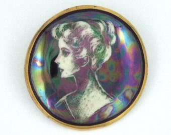 1920-40s - ITALY - Rare Vintage Hand Painted Opalescent Porcelain Pin / Brooch