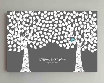 225 Guest Wedding Guest Book Wood Two Double Tree Wedding Guestbook Alternative Guestbook Poster Wedding Guestbook Poster - Gray