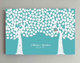 225 Guest Wedding Guest Book Wood Two Double Tree Wedding Guestbook Alternative Guestbook Poster Wedding Guestbook Poster - Teal and Coral