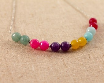 Dyed Jade Color Block Statement Silver Necklace