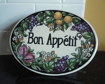 Bon Appetit Kitchen Wall Plaque Sign Hang or Freestand