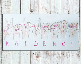 12x24 Custom Watercolor Painting of a Name in Sign Language