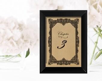 Printable Wedding table numbers | Floral  4 x 6 | Vintage Story book
