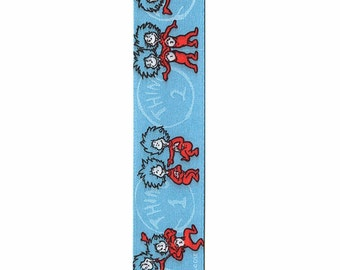 "7/8"" Dr Seuss Blue Decorative Ribbon - 9 feet - Thing 1 & Thing 2"