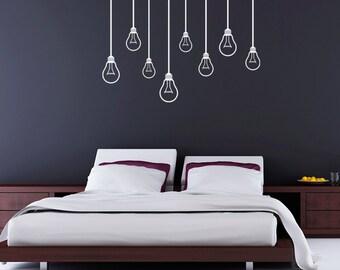 Hanging Light Bulbs Vinyl Wall Decals Modern Decorations