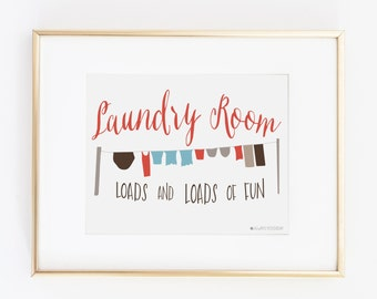 Coral Laundry Room Sign | Laundry  Room  | Coral Laundry Room Printable Art | Laundry Room Wall Decor |Instant Download |Laundry printable