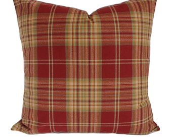 Red plaid pillow Etsy