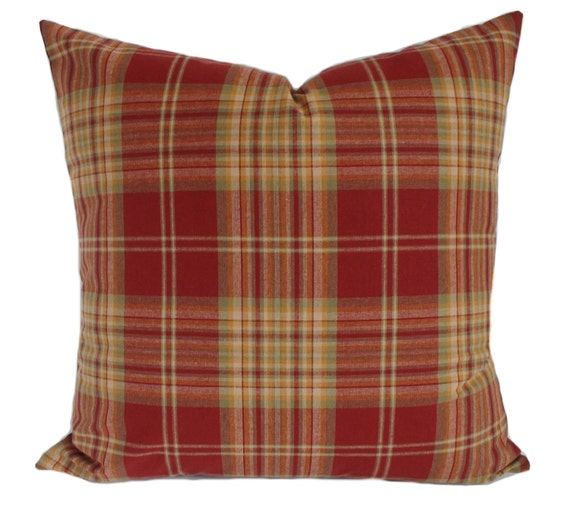 Red Plaid Throw Pillow Cover : Plaid pillow cover Red decorative pillow Throw pillow Couch