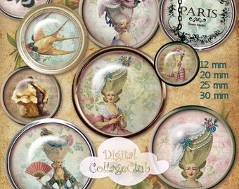 Shabby Chic Marie Antoinette Digital Collage Sheet 12 mm, 20 mm, 25 mm, 1 inch, 30 mm Round Images for Jewelry Making