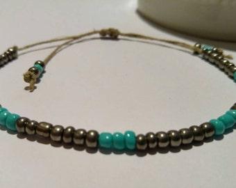 Turquoise Metallic Beaded Hemp Bracelet Turquoise Handmade, Beaded Bracelet, Hemp Anklet, Hemp Jewelry, Hemp, Bracelet, Jewelry.