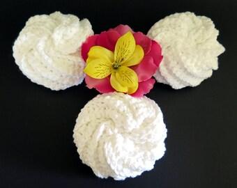 Crochet White Cotton Spiral Scrubbie 3 Piece Spa Set