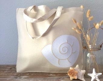 Nautilus Shell Canvas Tote Bag - purse, beach bag or bridesmaid tote