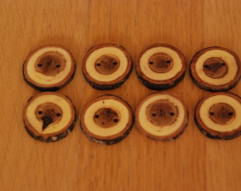 8 Handmade Round Mystery Wooden Buttons 35mm Tree Branch Buttons Sewing Knitting Craft UK Seller
