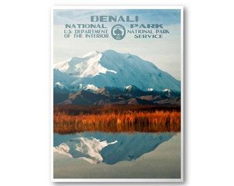 Denali National Park Poster | National Park Postcard | National Park Print | WPA Poster | WPA Postcard | National Park Art | Alaska Poster